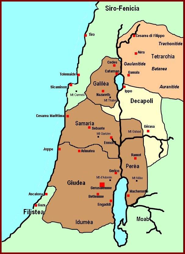 Cartina Muta Della Palestina.Carte Dei Luoghi Della Vita Di Gesu